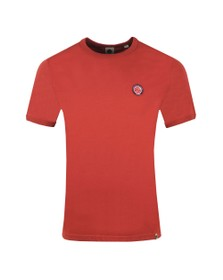 Pretty Green Mens Red Likeminded Chest Badge T-Shirt