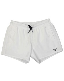 Emporio Armani Mens White Embroidered Eagle Swim Short