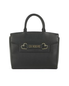 Love Moschino Womens Black Heart Box Plated Large Tote