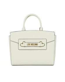 Love Moschino Womens Off-White Heart Box Plated Large Tote