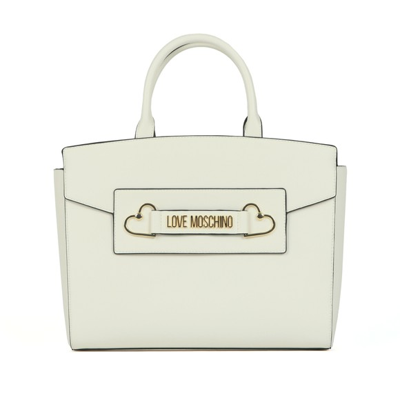 Love Moschino Womens Off-White Heart Box Plated Large Tote main image