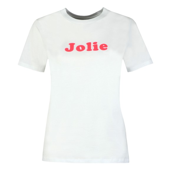 French Connection Womens White Neon Flocking French Jolie T Shirt