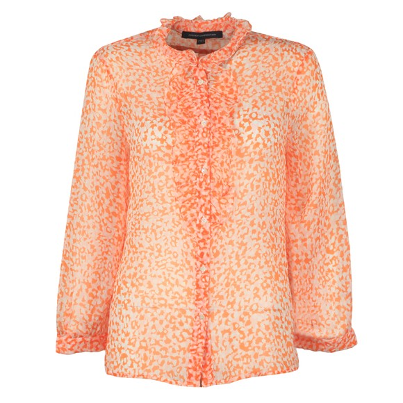 French Connection Womens Orange Cade Crinkle Ruffle Neck Blouse
