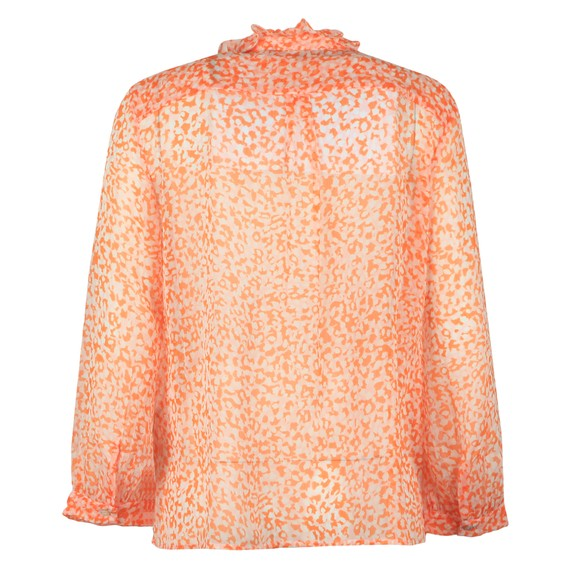 French Connection Womens Orange Cade Crinkle Ruffle Neck Blouse main image