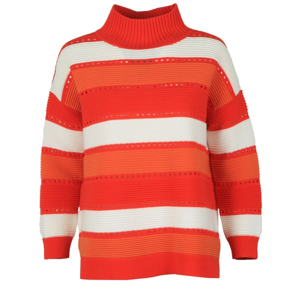 French Connection Womens Red Liliya Stripe High Neck Knit Jumper main image
