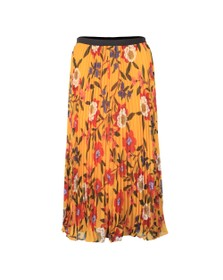 French Connection Womens Yellow Eloise Crinkle Midi Skirt