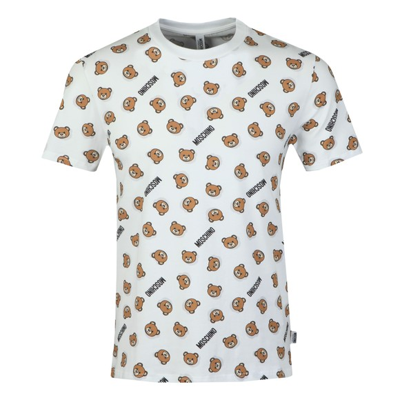 Moschino Mens White Underbear Allover T Shirt