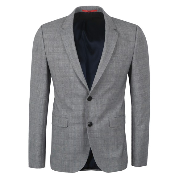 HUGO Mens Grey Astian184 Check Blazer