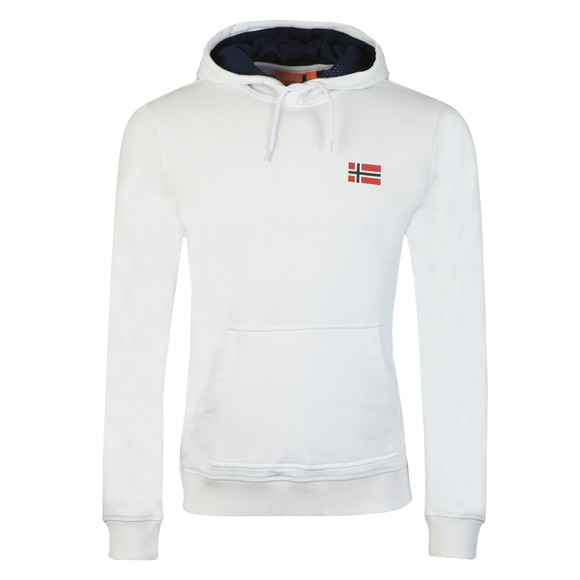 Napapijri Mens White Bito Hooded Sweatshirt