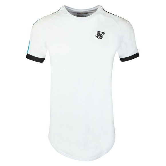 Sik Silk Mens White Inset Cuff Fade Panel Tech T-Shirt main image