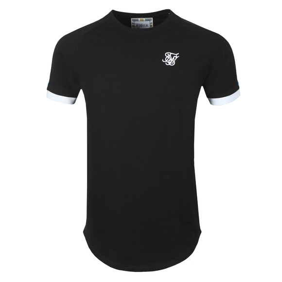Sik Silk Mens Black Inset Cuff Fade Panel Tech T-Shirt