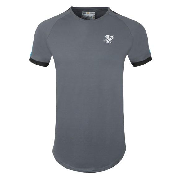 Sik Silk Mens Grey Inset Cuff Fade Panel Tech T-Shirt main image