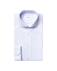 Eton Mens Blue Checked Shirt