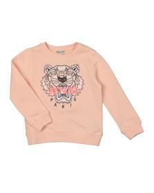 Kenzo Kids Girls Pink/Coral Embroidered Tiger Sweatshirt