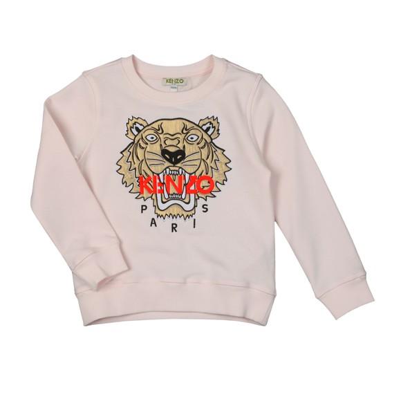 Kenzo Kids Girls Pink/Rose Gold Embroidered Tiger Sweatshirt main image