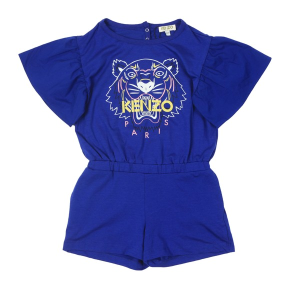 Kenzo Kids Girls Blue Tiger Short Playsuit