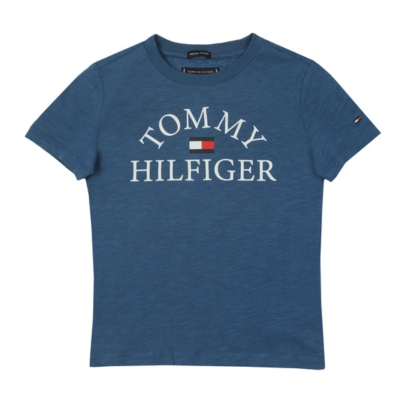 Tommy Hilfiger Kids Boys Blue Essential Curved Logo T Shirt