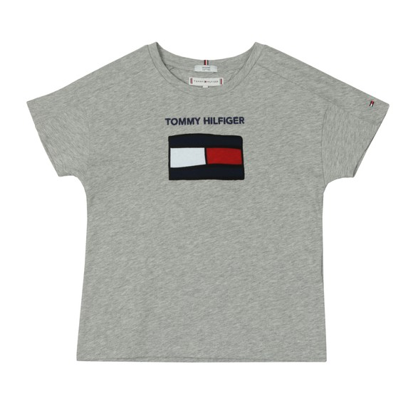 Tommy Hilfiger Kids Girls Grey Fun Graphic Flag T Shirt