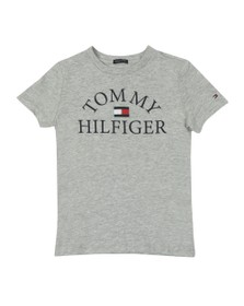 Tommy Hilfiger Kids Boys Grey Essential Curved Logo T Shirt