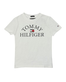 Tommy Hilfiger Kids Boys White Essential Curved Logo T Shirt