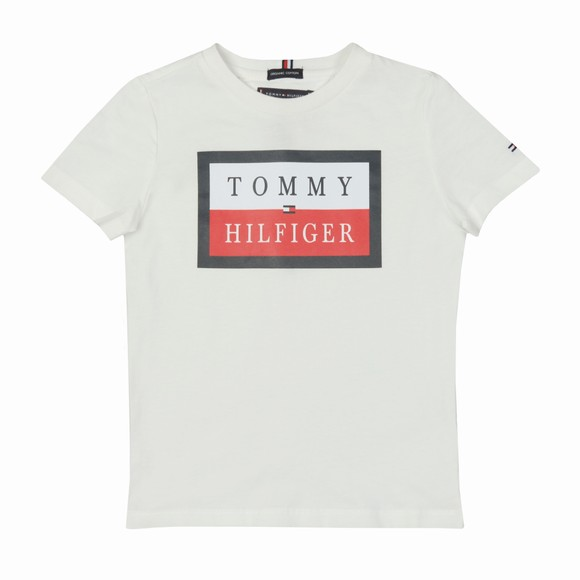 Tommy Hilfiger Kids Boys White Essential TH Logo T Shirt
