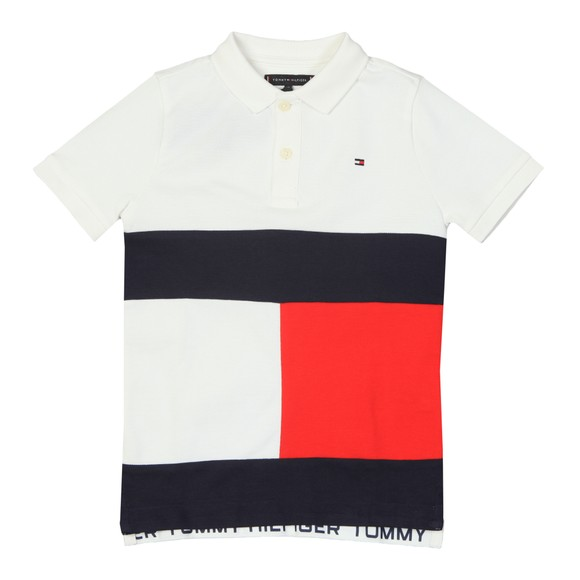 Tommy Hilfiger Kids Boys White Colourblock Flag Polo Shirt