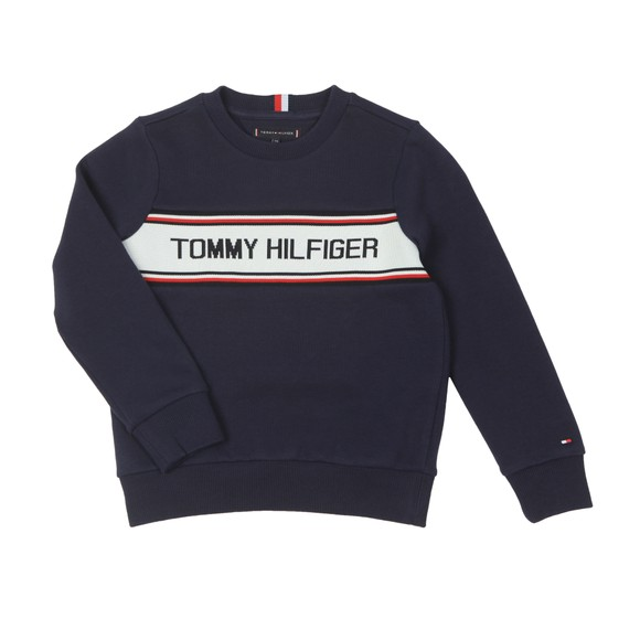 Tommy Hilfiger Kids Boys Blue Tape Logo Sweatshirt
