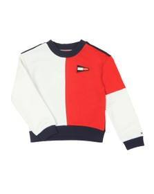 Tommy Hilfiger Kids Girls Blue Colourblock Crew Sweatshirt