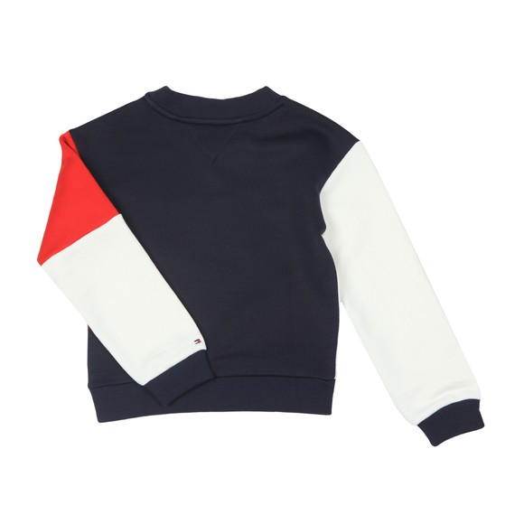 Tommy Hilfiger Kids Girls Blue Colourblock Crew Sweatshirt main image