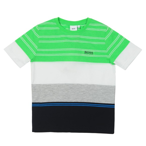 BOSS Boys Green J25E67 Stripe T Shirt main image