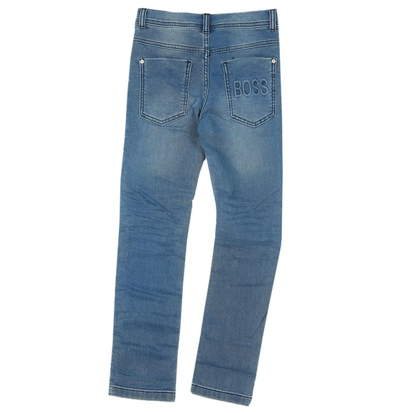 BOSS Boys Blue Embossed Logo Jean