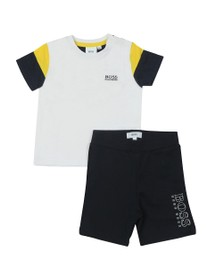 BOSS Boys White Baby T Shirt & Short Set