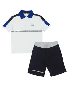 BOSS Boys White Tape Logo Polo & Short Set