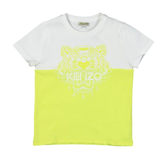 Kenzo Kids Girls Yellow Large Tiger Print Duo Colour T-Shirt
