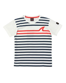 Paul & Shark Boys White Striped Shark Logo T-Shirt