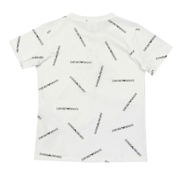 Emporio Armani Boys White Allover Logo Crew T Shirt
