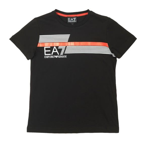 EA7 Emporio Armani Boys Black 7 Lines Stripe Logo T Shirt main image