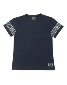 EA7 Emporio Armani Boys Blue Arm Taping T-Shirt