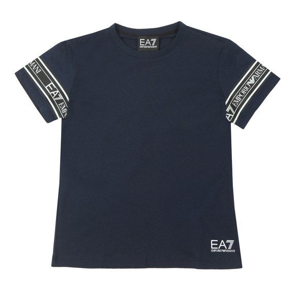 EA7 Emporio Armani Boys Blue Arm Taping T-Shirt main image
