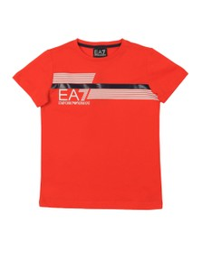 EA7 Emporio Armani Boys Orange 7 Lines Stripe Logo T Shirt