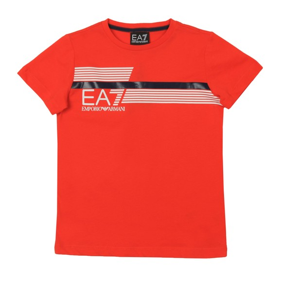 EA7 Emporio Armani Boys Orange 7 Lines Stripe Logo T Shirt main image
