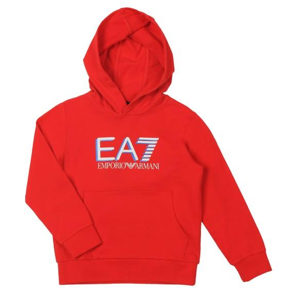EA7 Emporio Armani Boys Red Large Logo Overhead Hoody