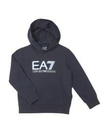EA7 Emporio Armani Boys Blue Large Logo Overhead Hoody