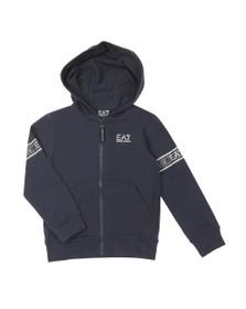EA7 Emporio Armani Boys Blue Tape Sleeve Zip Hoody