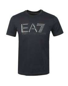 EA7 Emporio Armani Mens Blue Reflective Logo T-Shirt