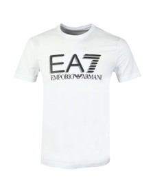EA7 Emporio Armani Mens White Reflective Logo T-Shirt