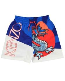 Kenzo Kids Boys Blue Dragon Celebration Jean Jass Swim Short