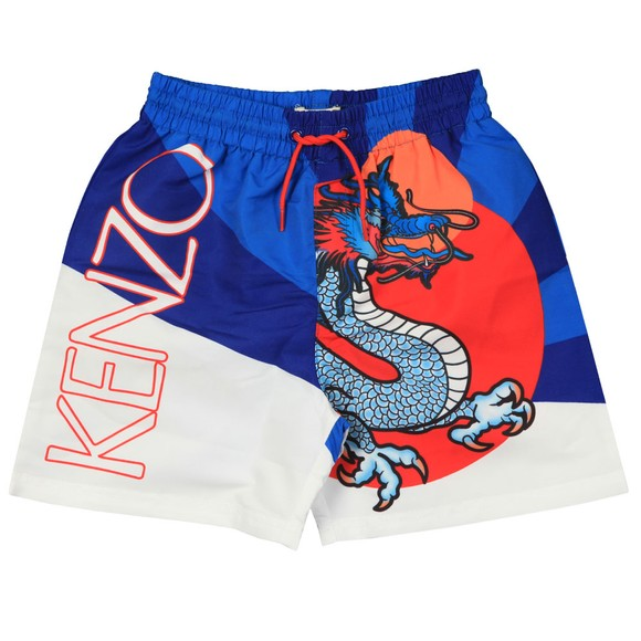Kenzo Kids Boys Blue Dragon Celebration Jean Jass Swim Short