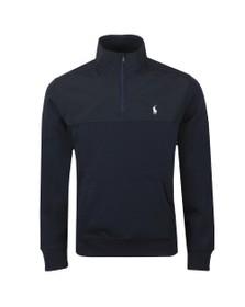 Polo Ralph Lauren Mens Blue Nylon Mix Half Zip Sweatshirt