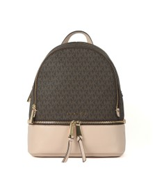 Michael Kors Womens Brown Rhea Medium Logo Pebbled Leather Backpack